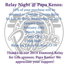 10% of proceeds @papakenospizza on #relaynight goes to @DCRelayForLife #RelayDGKS #savethispin #pizza #lawrenceks #lawrence