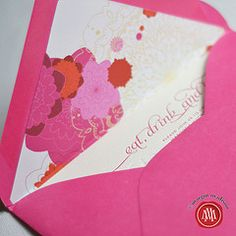Flowered custom liners #hot pink #paper #invitations