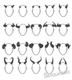 Rat Petite & Bat Peculiar — sesquii: I really like horns, so here, have a set.- Rat Petite & Bat Peculiar — sesquii: I really like horns, so here, have a set…. – Art Ref Trash bin – Drawing Reference Poses, Design Reference, Hair Reference, Anatomy Reference, Drawing Techniques, Drawing Tips, Drawing Ideas, Drawing Tutorials, Drawing Templates