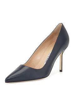 BB Leather 90mm Pump, Navy (Made to Order) by Manolo Blahnik at Bergdorf Goodman.
