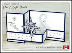 Canadian Stampin Up Demonstrator Sandi MacIver shares a new Stampin Up Video Star of Light Double Z Card for this weeks You Tube Tuesday share. Z Cards, Star Cards, Fun Fold Cards, Folded Cards, Cool Cards, Joy Fold Card, Christmas Cards To Make, Holiday Cards, Christmas Star