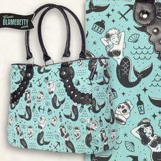 We love the nautical print on this tote! #blamebetty #mermaid #nautical