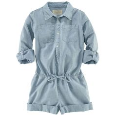 Ralph Lauren Childrenswear Girls' Chambray Romper ($36) ❤ liked on Polyvore featuring baby, kids, baby clothes, children and girls