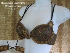 Steampunk Bra, leather brown with crenellations