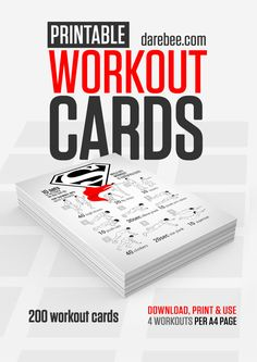 Free Workout Cards by Neila Rey / Choose your own workout - multiple exercises on a page, choose 4 and GO! Each has a name/theme, hitting abs, arms, legs, all over. Easy to follow HIIT printable, this is awesome!