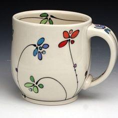 Pottery Painting, Ceramic Painting, Diy Painting, Pottery Mugs, Ceramic Pottery, Vasos Vintage, Diy Becher, Tassen Design, Painted Coffee Mugs