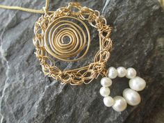 Crocheted and coiled 14k gold filled pendant with a by ScentOfGold, $26.00