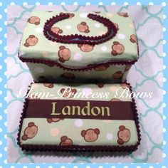 Custom Personalized Green Brown Monkeys with Name Embroidered Boutique Diaper Baby Wipes Case.