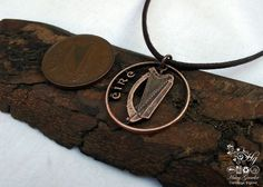 Handcrafted and recycled Irish harp coin pendant necklace