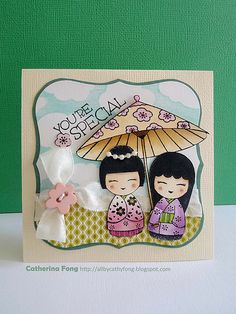 handmade card by Catherina Fong ... You're special! ... two dolls under a parasol ... sweet card!!