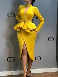 African Fashion Long Sleeve V-Neck Plain Split Womens Sheath Dress - Look Fashion Sheath Dress, Peplum Dress, Bodycon Dress, Belted Dress, Pencil Dress, Dress Long, Prom Dress, African Fashion Dresses, African Dress