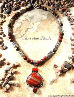 Poppy Jasper Jasper Carnelian Coral and Silver by StarshineBeads