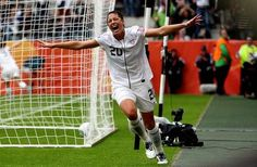 Abby Wambach celebrates after she makes a header goal. taking a lead during the FIFA Women's World Cup 2011 Semi Final match between France and USA. Abby Wambach, Mia Hamm, Fifa Women's World Cup, Soccer Quotes, World Cup Final, Sport Motivation, Female Athletes, Thing 1