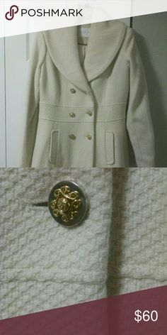 NWT Jessica Simpson Wool Coat Jessica Simpson Wool Double Breasted Walker Coat. Beautiful gold buttons.  Off-white.  Size large. Jessica Simpson Jackets & Coats