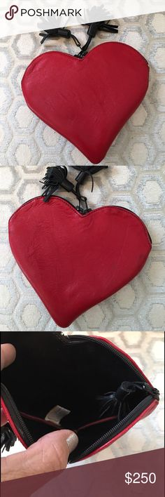 🛍 Red Leather Heart Double Zip Tassel Wallet Double zip closure.  Leather.  Very light fading on bottom tip.  Measures: 5.5x5.5. Jo Ann Page Bags Wallets