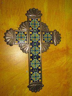 Talavera Tin & Tile Cross #3-Mexican Folk Art-NEW-Handmade-9x13-Gorgeous
