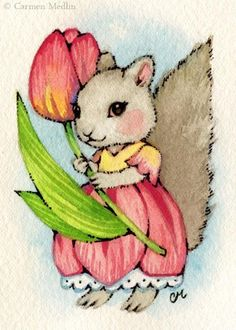 Art 'Tulip Squirrel ACEO' - by Carmen Medlin from Sold Art