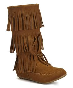 Look what I found on #zulily! Tan Fringe Boot #zulilyfinds