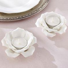 Ceramic Rose Tea Light Holders
