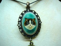 Hand Painted Ragdoll Cat Cameo Pendant Necklace I Love