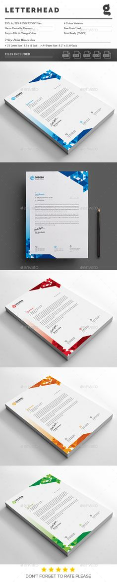 Colourful Business Letterhead 2 Letterhead template, Stationery - free business letterhead templates download