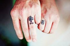 Simple Cute Matching Couple Tattoos - Cute Matching Couple Finger Tattoos