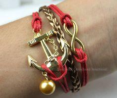 Jewelry bracelet - noble jewelry gold bracelet, golden anchor bracelet, infinity bracelet, send the best gift to a friend