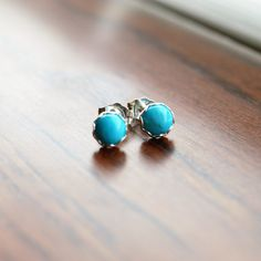 Sky Blue Turquoise Earrings. Round Turquoise Gemstone Posts. Turquoise Studs by MilionSplendidPearls on Etsy