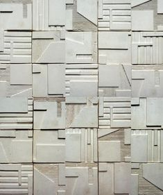 Contemporary architectural friezes, tiles and wall sculptures by artist Kathy Dalwood. Plaster or concrete for interior or exterior. Concrete Tiles, Cement, Concrete Design, Decorative Plaster, Plaster Walls, Wall Cladding, Wall Patterns, Brutalist, Homemade Home Decor