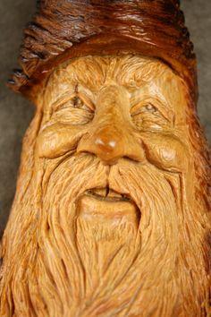 Wood carving Wood Spirit log cabin decor Valentines day by treewiz, $70.00