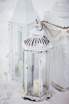 Distressed White Lanterns ::: Clustered In Front Of Faux Fireplace . . . LOVE <3