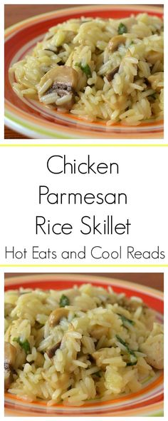 Great weeknight dinner that the kiddos even love! Ready in less than 30 minutes! Chicken Parmesan Rice Skillet Recipe from Hot Eats and Cool Reads