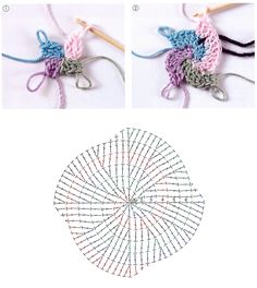 How to crochet a four-color spiral (by Margaret Hubert).