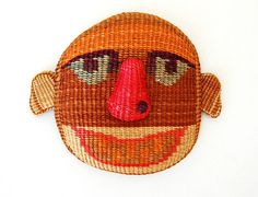 Vintage Weave Ethnic Woven Basket Folk Face Man Mask by cutxpaste, $24.00