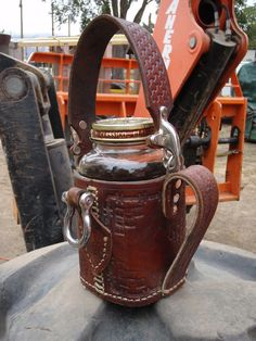 Steampunk Leather Armored Coffee Mug: Forkliftable. $125.00, via Etsy.
