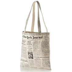 kate spade new york newspaper print canvas shopping tote ($25) ❤ liked on Polyvore featuring bags, handbags, tote bags, white tote, kate spade handbag, kate spade tote, canvas tote and handbags totes