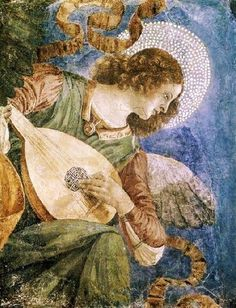 """Angel Playing Lute, ca.1480, by Melozzo da Flori (Italian, 1438–1494). """"Without Melozzo, the work of Raphael and Michelangelo would have never existed"""" according to Antonio Paolucci, director of the Vatican Museums, summing up the impact this Renaissance painter had on some of the greatest Italian painters"""