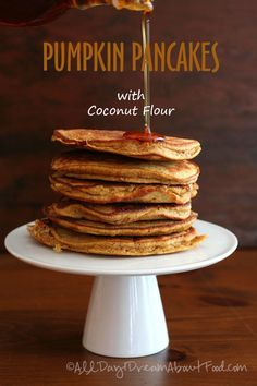 Pumpkin pancakes made with coconut flour and coconut oil. Low carb, gluten-free and dairy-free. A perfect fall breakfast. Today's recipe is brought to you by panic and a slightly messed up editoria...