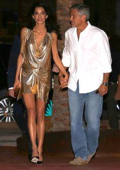 VIONNET golden dress: Amal in golden minidress - Ibiza on August 23, 2015