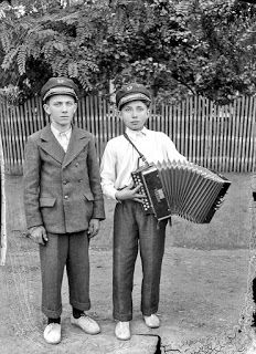 Two boys with an accordion #vintagephotos