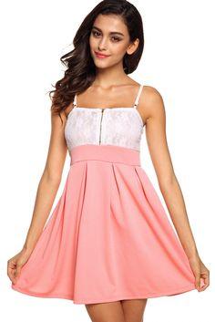 Stylish Lady Women's Strap Low-cut Backless High Waist Slim Mini Patchwork Clubwear Cocktail Party Beach A-line Dress