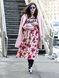 Even in the dead of Winter, a full, floral skirt says Spring is on its way.  Source: Tim Regas