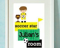 Soccer Boy Print -  Personalised Children's Art Print  - GREAT CHILDREN'S  GIFT  idea - Unframed Soccer Boys, Soccer Stars, World Cup 2014, Childrens Gifts, Art Prints, House, Etsy, Art Impressions, Home