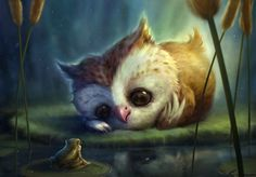 Owl and Frog. I think I'll name the owl Gilda and the frog Evan Cute Gifs, Art Mignon, Owl Pictures, Beautiful Owl, Beautiful Things, Beautiful Images, Fantasy Art, Cute Animals, Illustrations