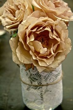 Julia's rose with lace bound recycled bottle