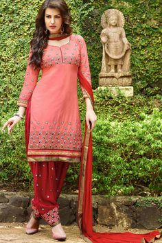 Salmon & Red Cotton Cambric Suit With Chiffon Dupatta