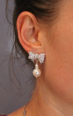 BRIDAL Earrings, Swarovski Bow and Pearls, WEDDING Jewelry, White Gold , Bridesmaid Earrings, Mother of Bride TOUS Be Frosted. $48.00, via Etsy.