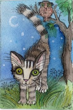 'Night Cat' by Victoria Usova (there's an owl in there too :-)