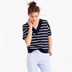 J.Crew - Striped short-sleeve V-neck sweater