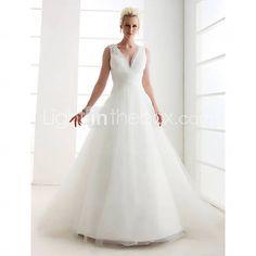 [USD $ 197.99] A-line V-neck Floor-length Tulle Wedding Dress